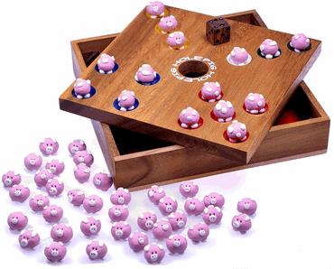 3 lustige Holz Brettspiele für Senioren - Pig Hole - Schweinchenspiel