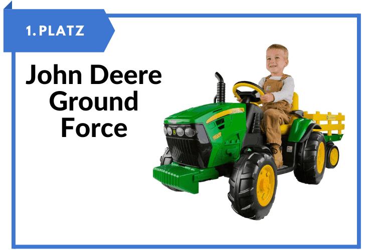 Kinderfahrzeug zum selber fahren John Deere Ground Force Kinder Elektro Traktor 12 Volt mit Anhänger