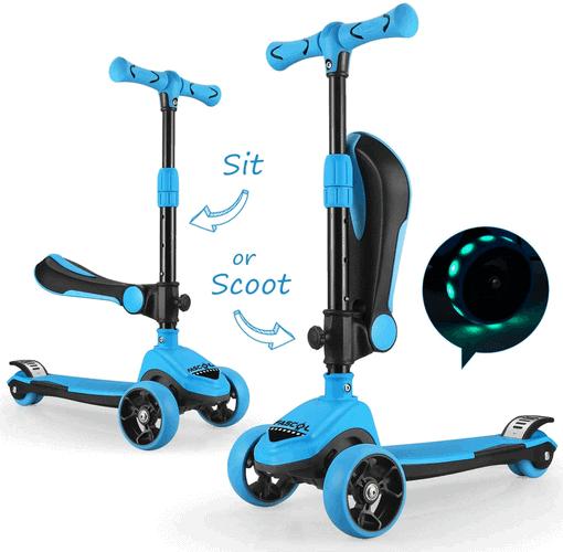 Kinderroller 3 Räder mit Sitz Fascol 2 in 1 Kinder Roller, Klappbar und mit LED Leuchträder