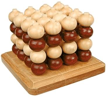 Holzspiel mit Kugeln - Tic Tac Toe aus Holz