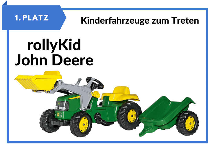 rolly toys rollyKid John Deere Kinder Trettraktor mit Frontlader und Anhänger