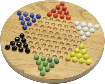 winmaarc handgemachte chinesische Checkers Board Games in Holz mit Glas Murmeln
